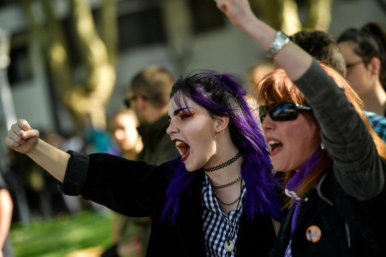 Demonstranten zaterdag in de noord-Spaanse stad Bilbao. Beeld AP