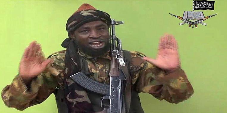 Boko Haram-leider Abubakar Shekau in de videoboodschap. Beeld afp