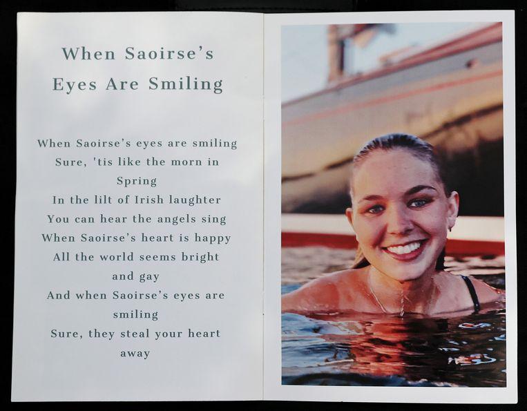 Het doodsprentje van Saoirse.