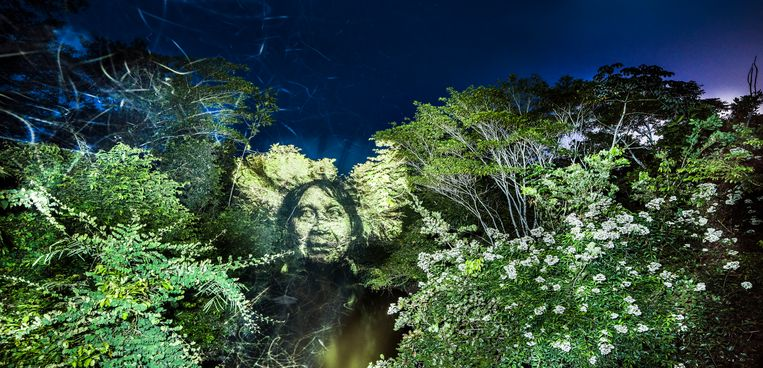 De Franse kunstenaar Philippe Echaroux projecteerde in 2017 portretten van indianen in de Braziliaanse jungle om aandacht te vragen voor toenemende ontbossing in het Amazonegebied.   Beeld Getty Images