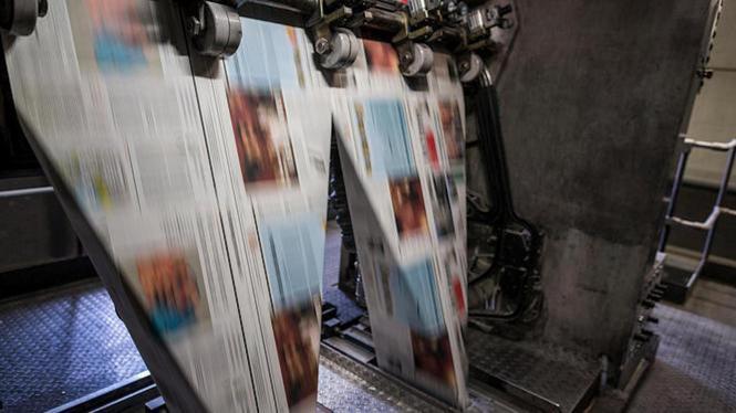 Kranten in een drukkerij.