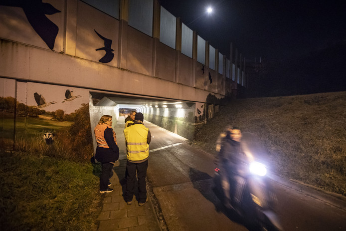 Burgers uit  Helmerhoek patrouilleren bij het tunneltje aan de Oude Dijk. Daar zijn in oktober vier jongens overvallen en met een vuurwapen bedreigd.