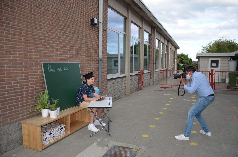 Leerling Jorre (12) van VBS Welle tijdens de fotoshoot.