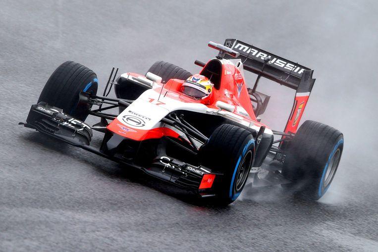 Jules Bianchi in actie tijdens de Grand Prix van Japan, zondag, kort voor zijn crash. Beeld getty