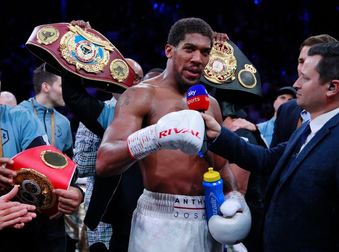 Boxing - Andy Ruiz Jr v Anthony Joshua - IBF, WBA, WBO & IBO World Heavyweight Titles - Diriyah Arena, Diriyah, Saudi Arabia - December 7, 2019. Anthony Joshua speaks to the media after winning his match against Andy Ruiz Jr. Action Images via Reuters/Andrew Couldridge