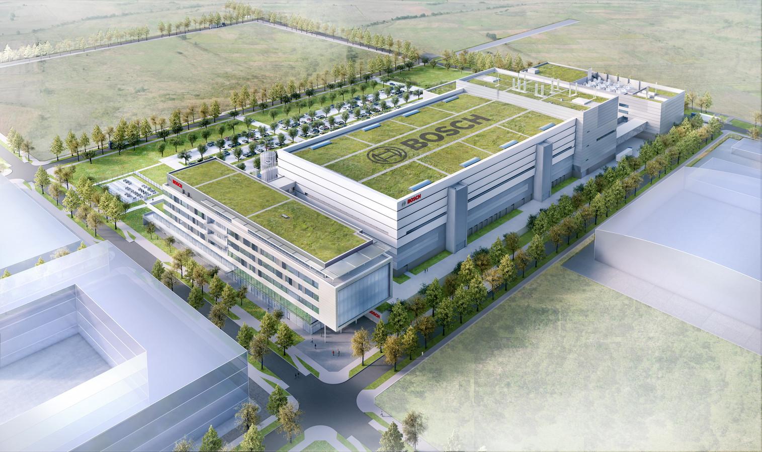 Een ontwerp van de hypermoderne chipfabriek die Bosch bouwt in Dresden.