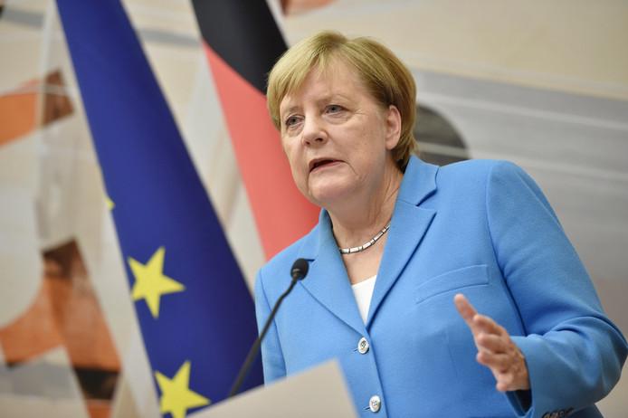 Angela Merkel tijdens de persconferentie op de informele EU-top in Salzburg, Oostenrijk.