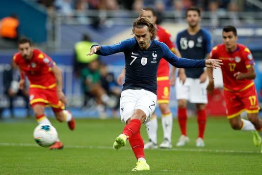 Antoine Griezmann mist van elf meter tegen Andorra.