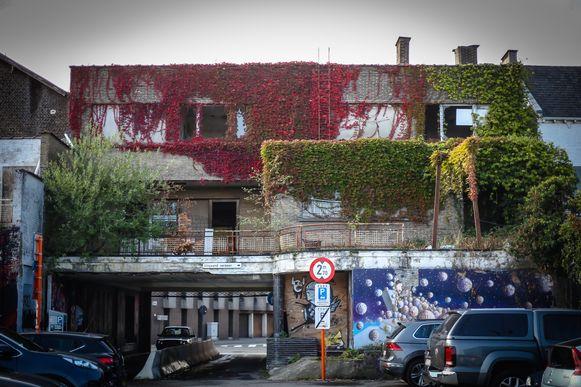 Aan de achterzijde is zichtbaar hoe de natuur het gebouw innam.