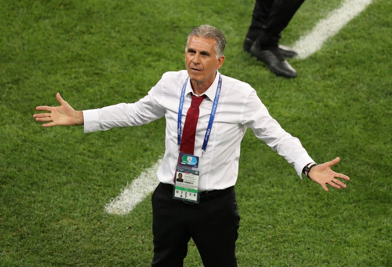 Carlos Queiroz als bondscoach van Iran tijdens het WK 2018 in Rusland.