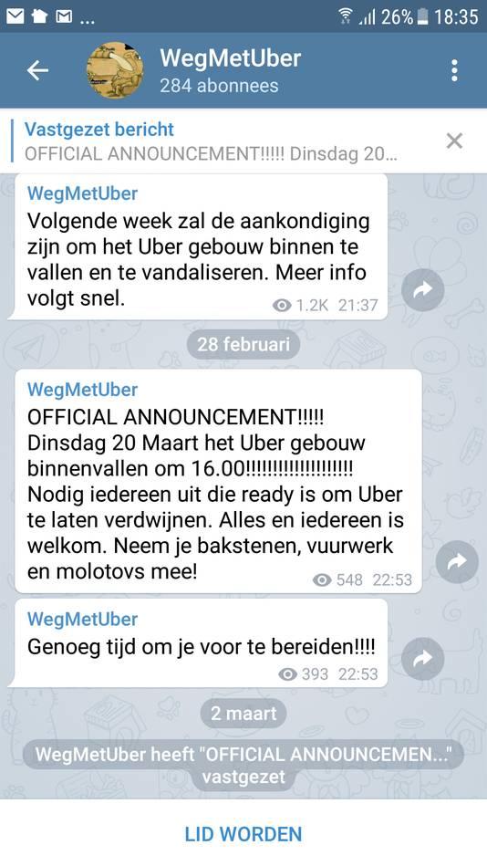 In de Telegramgroep WegmetUber werd een bericht geplaatst om Uber binnen te vallen