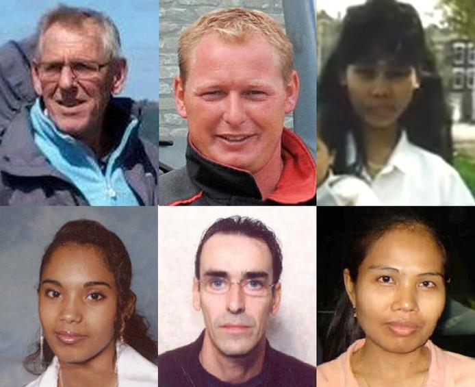 De Zeeuwse vermisten (vanaf linksboven met de klok mee): Rob Steijger, Herman Ploegstra, Imelda Becerro,  Dina Jamal Sharif, Johannes Huibert Kwist en Duangdao Pimthong.
