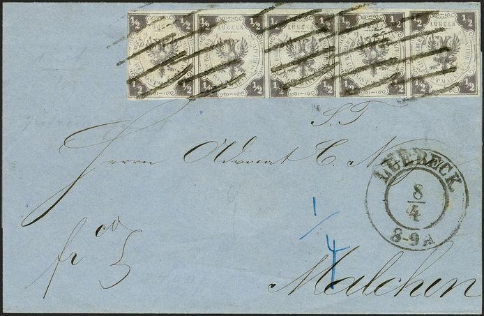 De brief met postzegels maakte deel uit van de postzegelverzameling van wijlen Erivan Haub, een Duitse miljardair en zakenman.