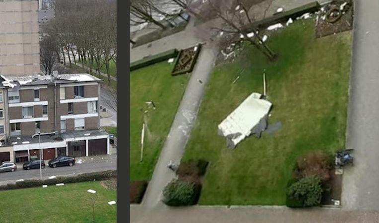 Op Linkeroever werd een deel van het dak weggeblazen.
