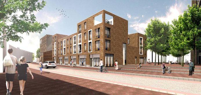 Het afgekeurde ontwerp voor de woningen op het Arnhemse Kerkplein.