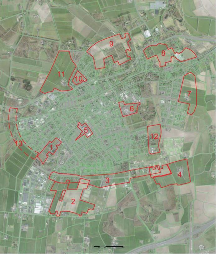Een overzicht van de door DS Landschapsarchitecten onderzochte potentiële toekomstige woningbouwlocaties in Twello. Volgens het Voorster college zijn nummer 8 en 9 het meest kansrijk.
