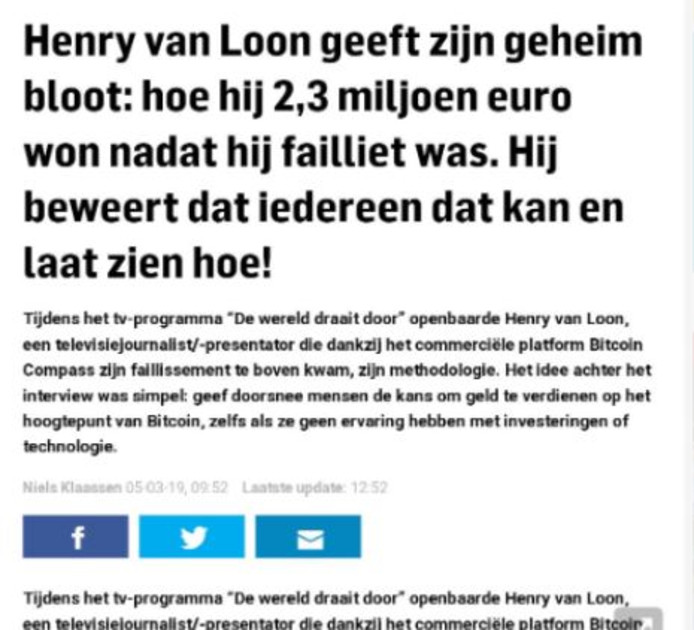Screenshot van een nep-artikel over Bitcoin.