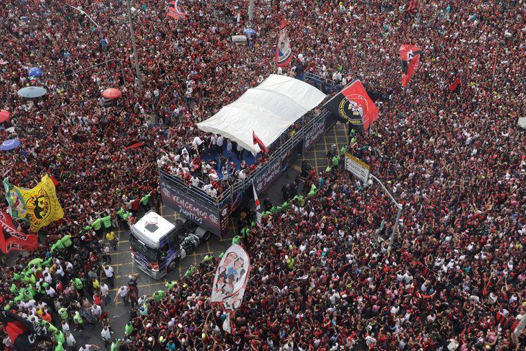 De zegeparade in de straten van Rio de Janeiro van Flamengo.