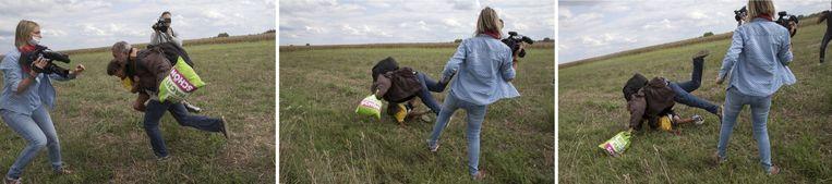 Stills uit de video waarin Petra László de vluchteling en zijn kind laat struikelen. Beeld reuters