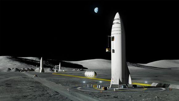 Een simulatie van enkele van de raketten van SpaceX op de maan.