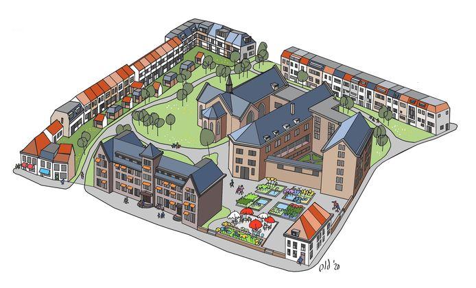 Het ontwerp dat Piet Juten van de Stichting Behoud Ketrientje (in oprichting) heeft gemaakt als alternatieve invulling voor het gehele St. Catharina complex in het centrum van Bergen op Zoom