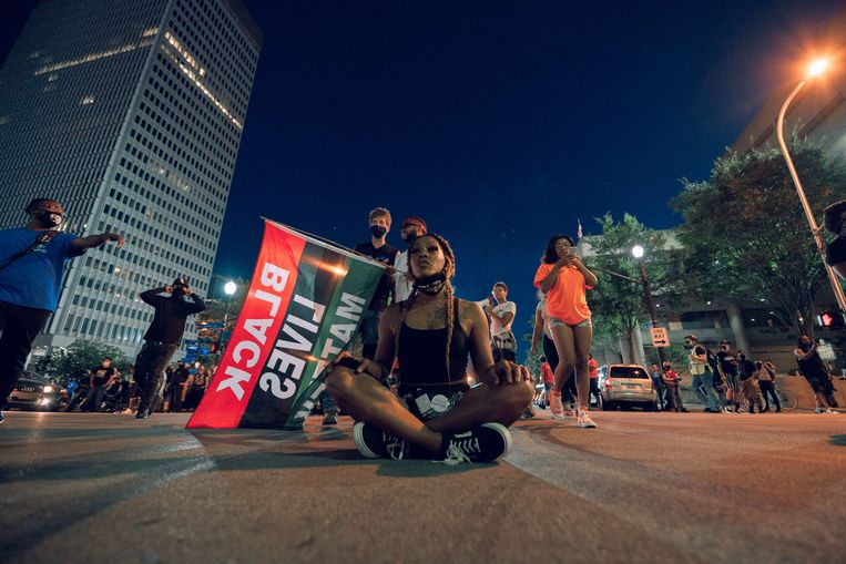Een demonstratie in Louisville, Kentucky in september, nadat Breonna Taylor door agenten was neergeschoten.  Beeld AFP