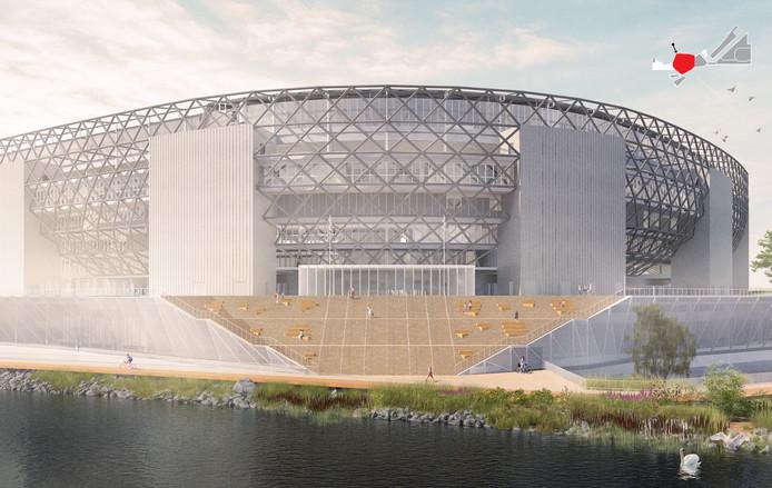 Het geplande stadion aan de Nieuwe Maas. ,,Ik weet zeker dat daar niets van doorgaat.''