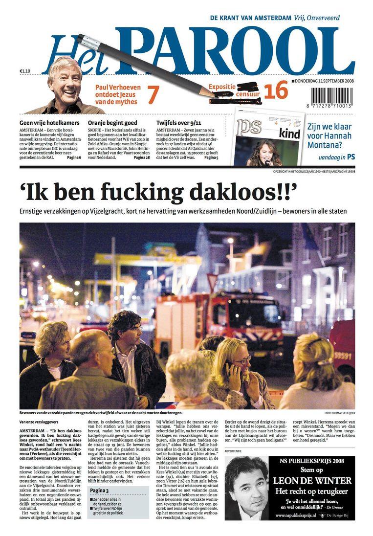 De voorpagina van 11 september 2008 Beeld Het Parool