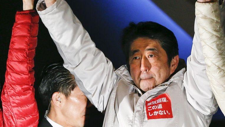 Premier Shinzo Abe. Het is bijna zeker dat hij na de verkiezingen verder kan.