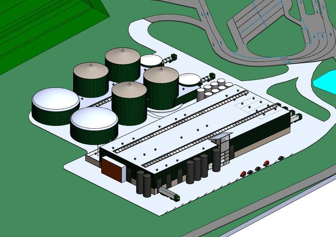 Een impressie van de toekomstige fabriek op Spinder.
