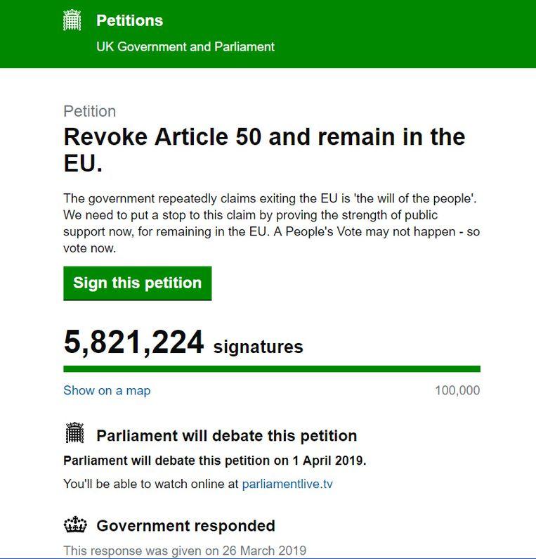De teller gaat inmiddels richting 5,9 miljoen ondertekenaars.