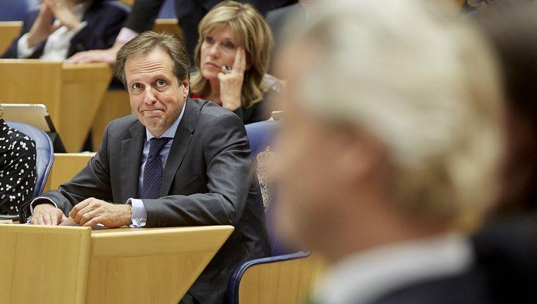 Pechtold (D66) en op de voorgrond Wilders (PVV). Beeld ANP