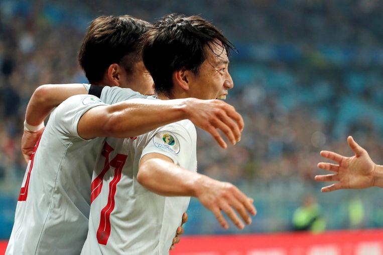 20 juni in het Braziliaanse Porto Alegre: Miyoshi scoort twee keer tegen Uruguay op de Copa America.
