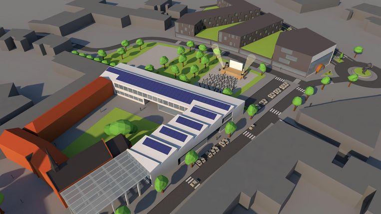Het alternatief plan van sp.a met links in beeld de bestaande Winterkapel, centraal het voorgestelde evenementenplein en uiterst rechts het voorgestelde Vikingmuseum.