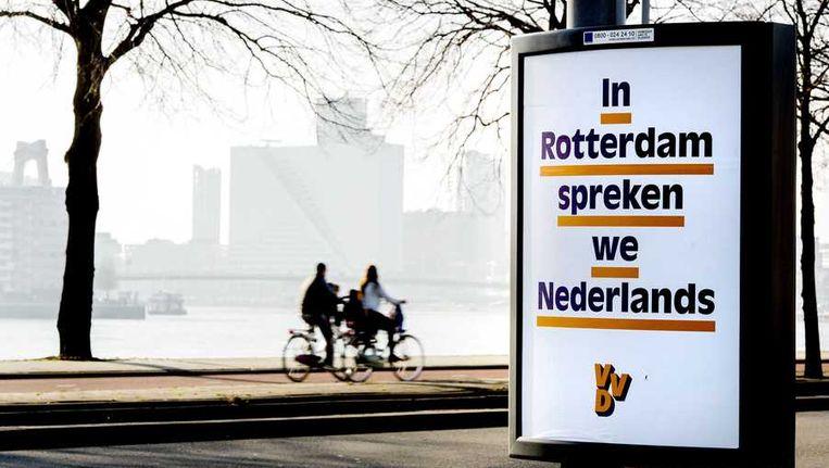 De verkiezingsposter van de lokale VVD in Rotterdam. Beeld anp