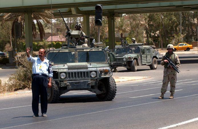 De militaire Humvee werd door de Amerikanen gebruikt tijdens de Golfoorlog in Irak.