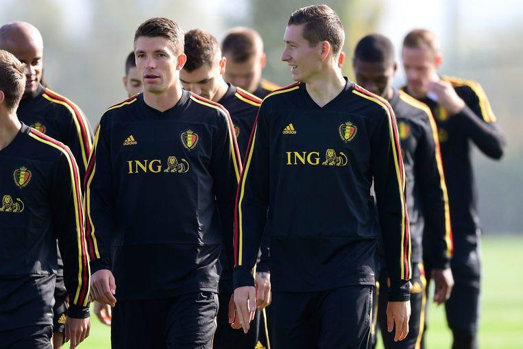 Vanaken en Mechele, hier op training met de nationale ploeg.