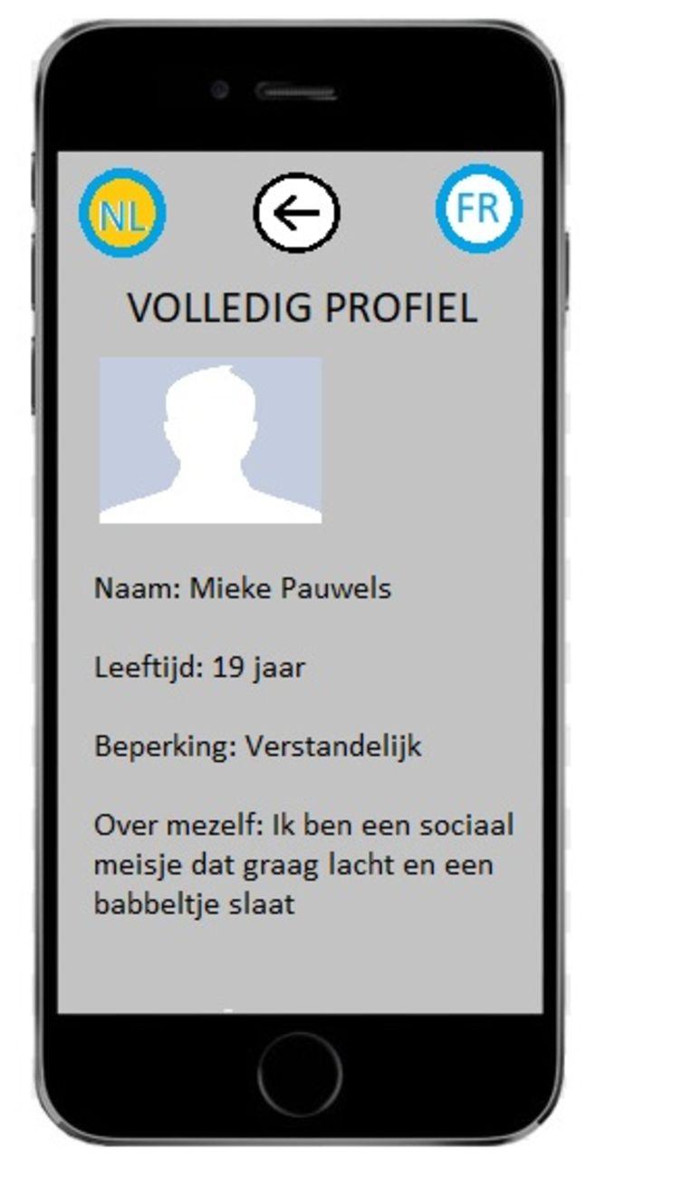Een simulatiebeeldje van de app.