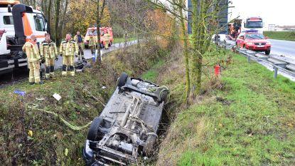 Franse bestuurder scheert rakelings langs verkeersbord en duikt in gracht naast A19