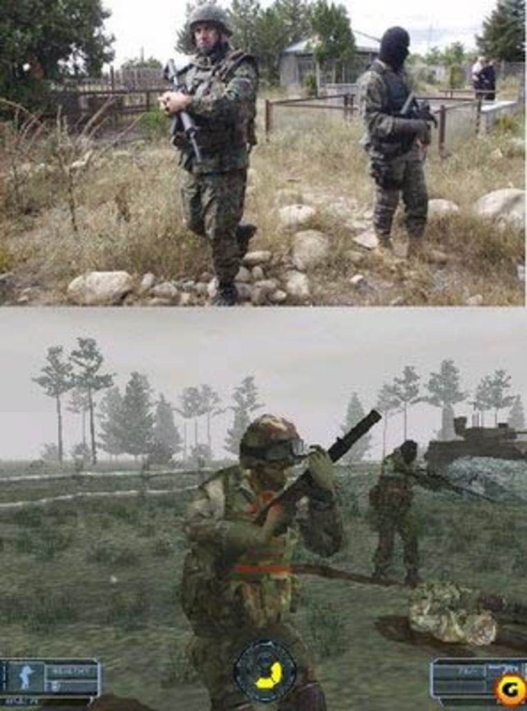 Een foto uit het oorlogsgebied (boven), en een beeld uit het computerspel Ghost Recon (onder). Beeld