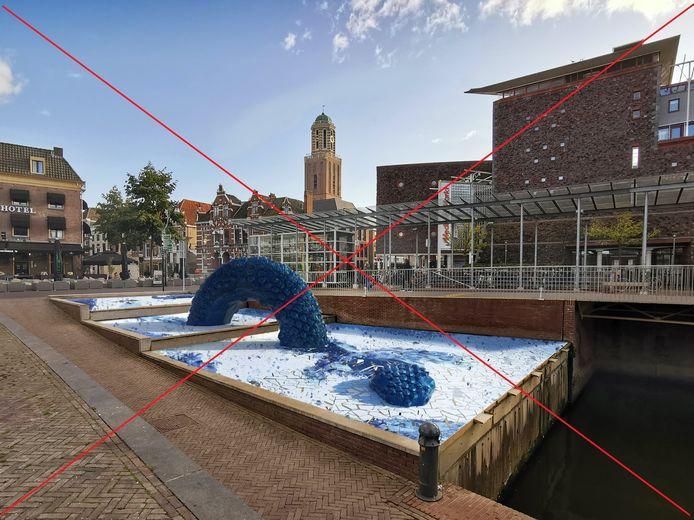 Er komt geen Zwolse Draak bij de watertrap op het Rodetorenplein. Dat besluit heeft het dagelijks stadsbestuur woensdag genomen.