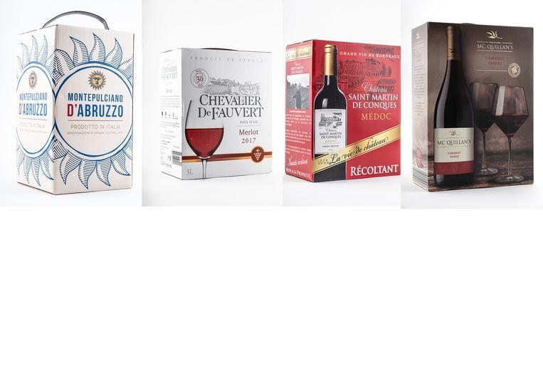 De andere rode wijnen, met van links naar rechts: Montepulciano D'Abruzzo, Chevalier De Fauvert, Château Saint-Martin de Conques en McQuillan's.