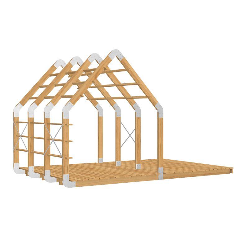 Het houten 'Frame House' van ontwerper Floris Schoonderbeek biedt een afgeschermde plek op een open locatie, uit te breiden met dakpanelen en een veranda, vanaf € 4495. weltevree.eu Beeld