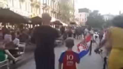 Jongetje krijgt staande ovatie wanneer hij met shirt en vlag van Kroatië door Brussel loopt