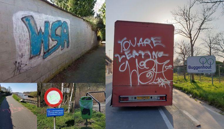 SINT-AMANDS - De vandaal of vandalen viseerden wegen, muren, verkeersborden en zelfs een vrachtwagen.