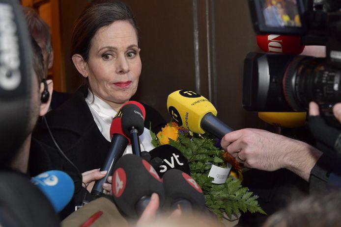 Sara Danius staat de media te woord na haar aftreden in april vorig jaar