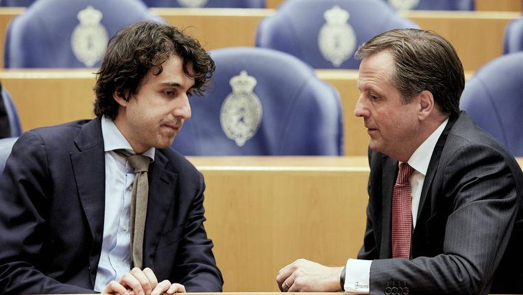 Twee lijsttrekkers, Jesse Klaver (GroenLinks, links) en Alexander Pechtold (D66). Beeld Anp