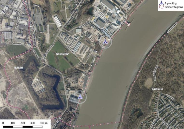 Engie wil de turbines inplanten in de bedrijvenzone Oeverkant langs de Schelde in Burcht.