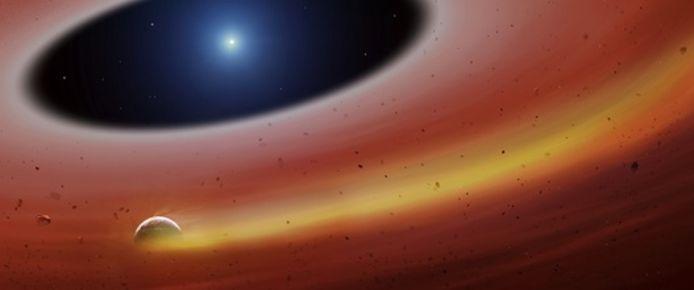 Zo zou de planetoïde die om de witte dwergster cirkelt en een spoor van gas achterlaat eruit zien.