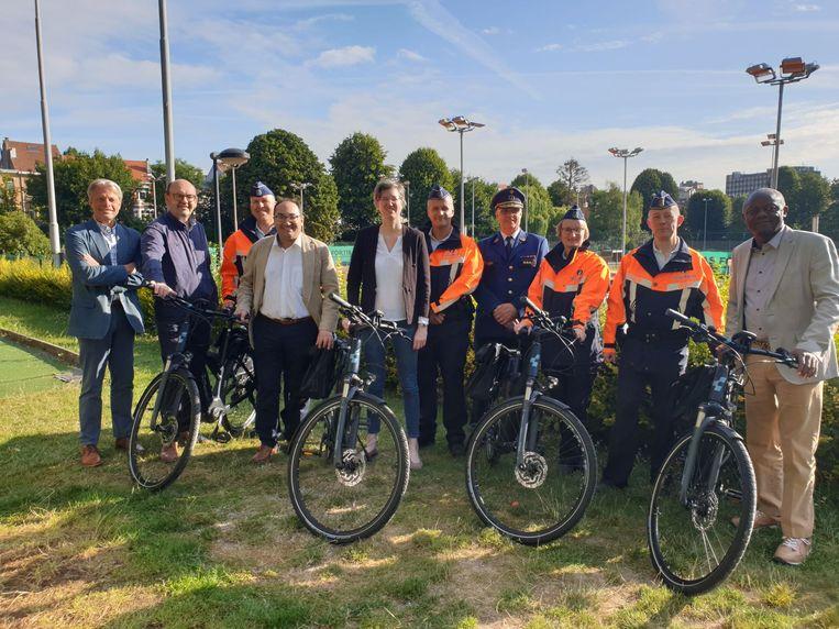 De vier aangeschafte elektrische fietsen van politiezone Brussel-West.